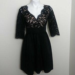 Eliza J  Lace and Faille Dress Classic Romantic